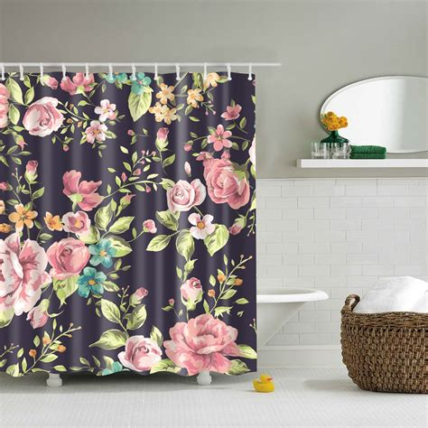 Pink Rose Shower Curtain Black Backdrop Watercolor Pink