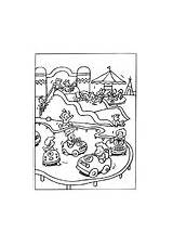 Coloring Castle Bouncy Amusement Park sketch template