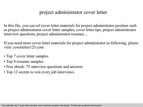 Project Administrator Resume by Project Administrator Cover Letter
