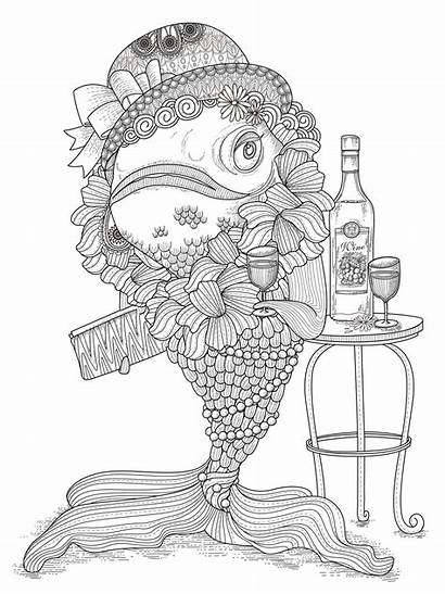 Coloring Adult Fish Funny Adults Humour Coloriage