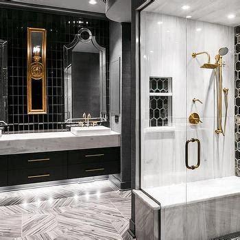 black  white shower  brass gooseneck shower head