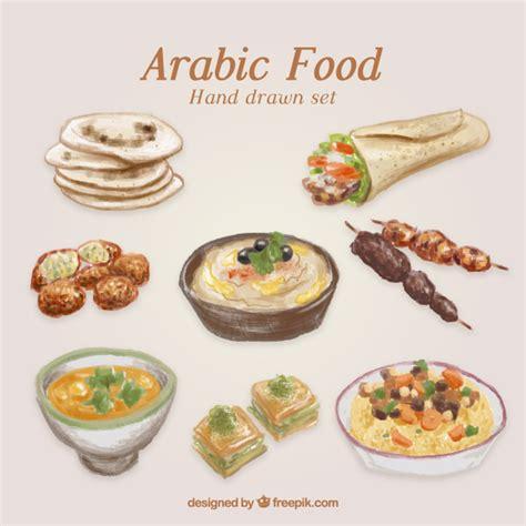 arabian cuisine painted traditional food vector premium