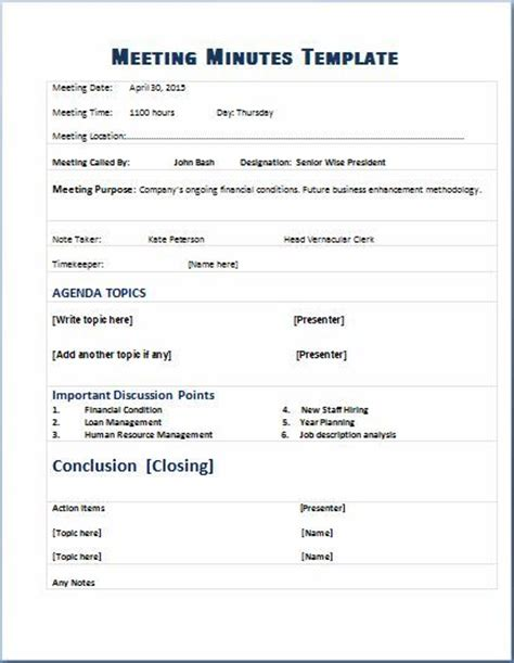 Minute Formats Templates by Formal Meeting Minutes Template Microsoft Templates