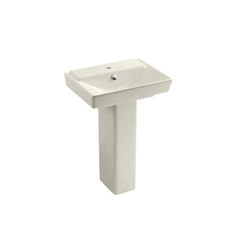 kohler reve ceramic pedestal combo bathroom sink in biscuit with overflow drain k 5152 1 96
