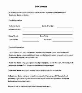 brilliant dj contract template sample with blank event With dj booking contract template
