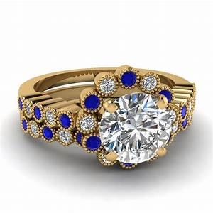 Round cut diamond wedding ring sets with blue sapphire in for Blue sapphire wedding ring set