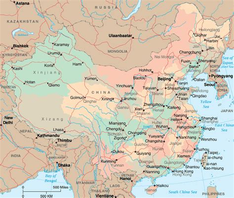 detailed map  china  cities