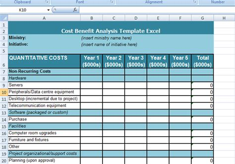 cost benefit analysis template excel excel