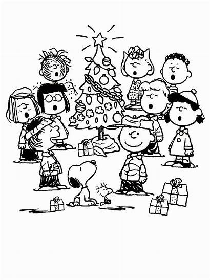 Charlie Brown Coloring Christmas Peanuts Pages Snoopy