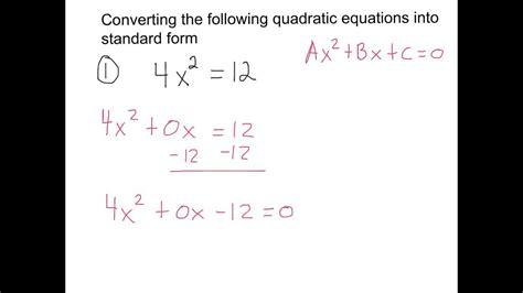 converting quadratic equations into standard form youtube