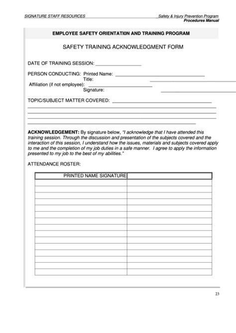 safety training acknowledgment form printable pdf