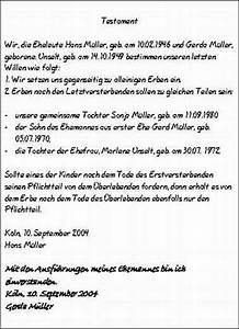Berliner Testament Beispiel : nrw justiz testament und erbvertrag ~ Orissabook.com Haus und Dekorationen