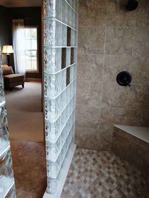 glass block shower wall walk  designs nationwide