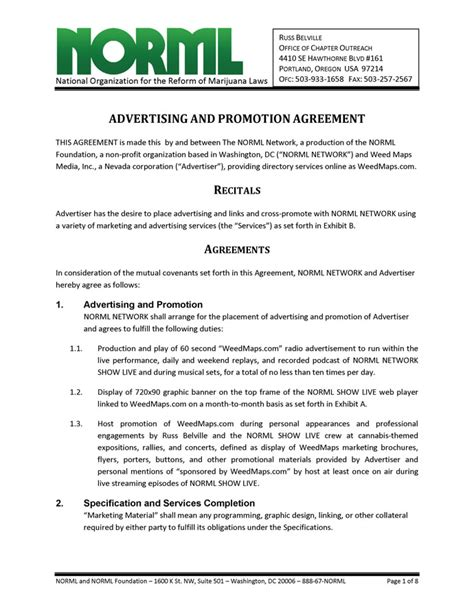 advertising  promotion agreement norml network