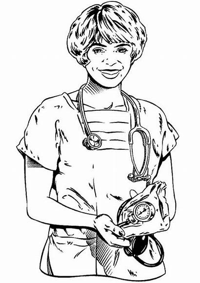 Hospital Coloring Professions Pages Fun Doctor Ziekenhuis