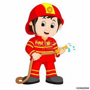 """Cute fireman cartoon"" Stock image and royalty-free vector ..."