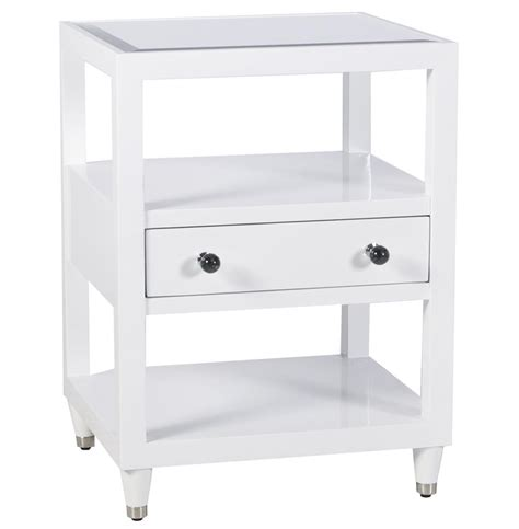 Modern White Lacquer Nightstand by Midtown Regency Modern White Lacquer Nightstand