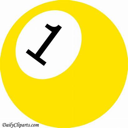 Ball Number Yellow Clipart Pool Icon