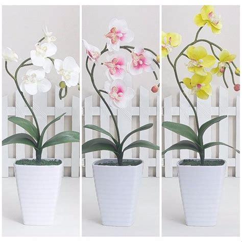 jual bunga anggrek artificial pot melamin besar tanaman