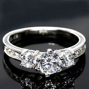 engagement ring cz 925 sterling silver 1 piece ebay With one piece wedding rings