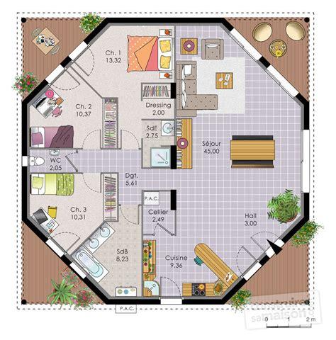 plan de maison plain pied 3 chambres gratuit cuisine maison octogonale dã du plan de maison