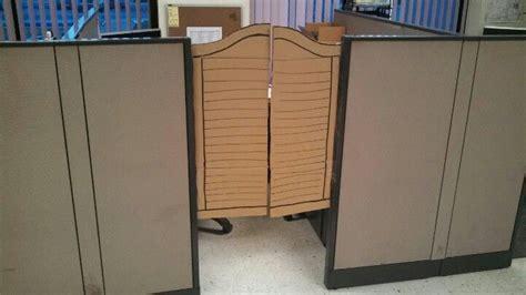 cubicle saloon doors   work cubicle office hacks