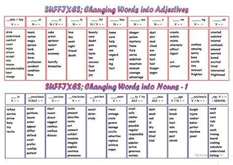 suffixes worksheet  esl printable worksheets