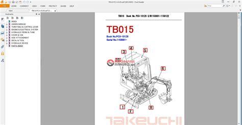 takeuchi excavator tb015 parts manual auto repair manual heavy equipment