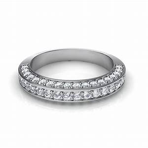 095 Ct Ladies Three Sided Pave Diamond Wedding Band