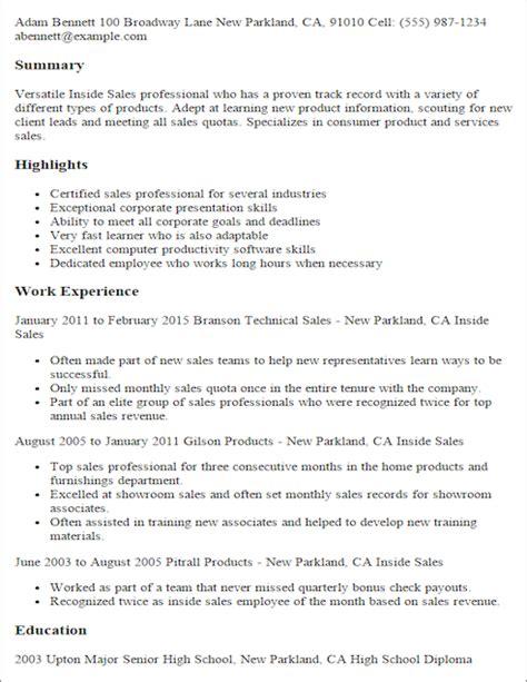 resume telephone sales