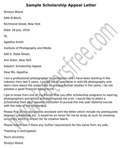 scholarship appeal letter sample appeal letters