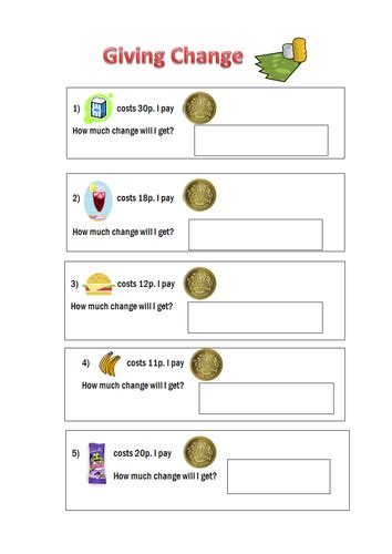 giving change worksheets by misshammersley teaching resources tes