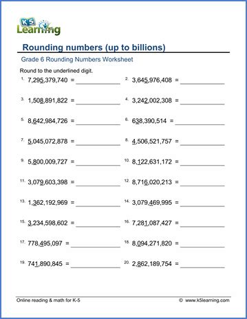 grade 6 math worksheet rounding numbers up to billions