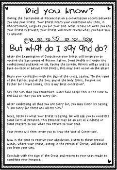 reconciliation worksheets sacrament  confession sin