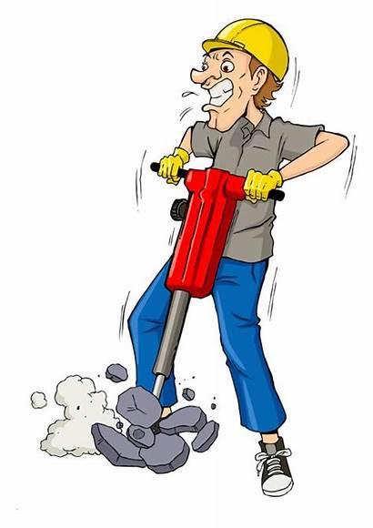 Funny Cartoon Clipart Drilling Builders Illustration Vector