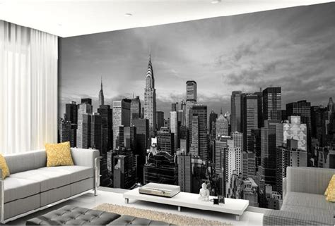 Living Room Wallpaper City by Black And White 3d Photo Mural Wallpaper Of New York City