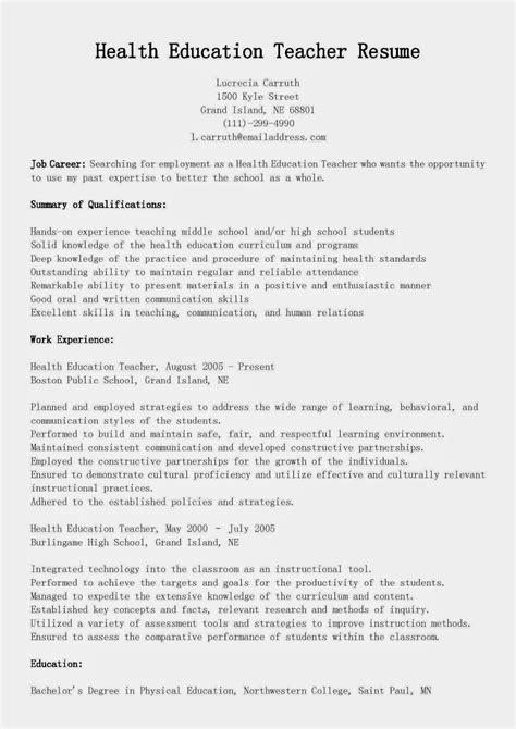 Education Resume by Resume Sles Health Education Resume Sle
