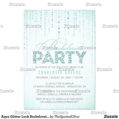 aqua glitter  bachelorette party invitation zazzle