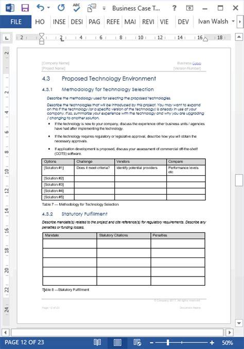 vorlage business case ms word  iwork pages  seiten
