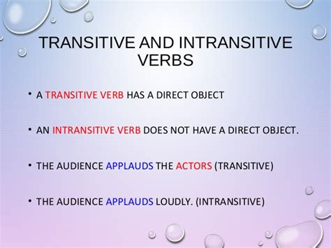 Action Transitive Intransitive Verbs