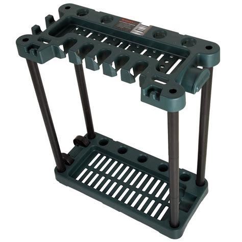 garden tool rack stalwart 28 in x 14 in x 29 5 in 2 tier 40 tool rolling