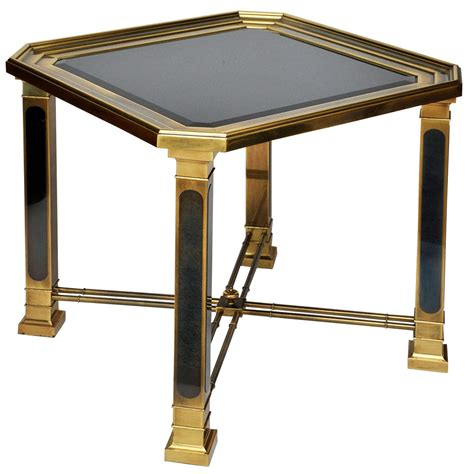 black glass end table mastercraft brass and black glass end table at 1stdibs