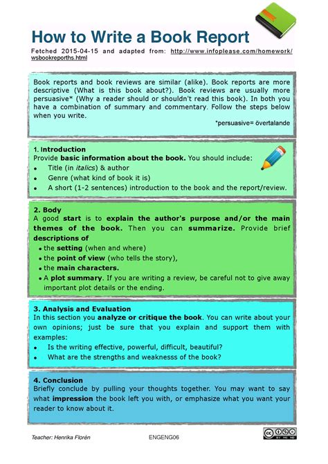 exle of book report writing