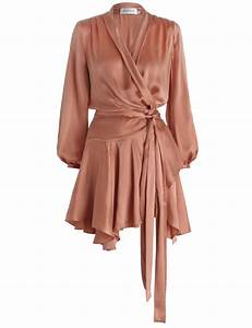 Zimmermann empire sueded robe dress in orange lyst for Dress robes