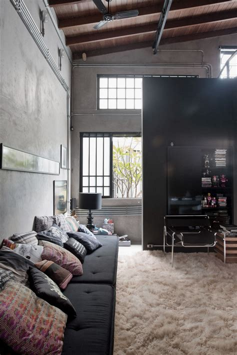 industrial interiors home decor industrial living area design ideas with wooden high ceiling