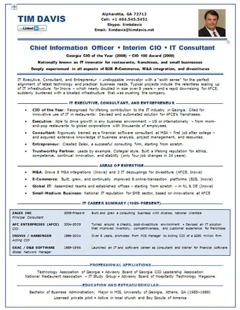 cio resume exle it resume template sle cio