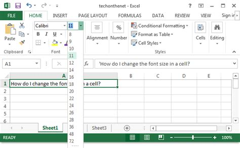 ms excel 2013 change the font size in a cell