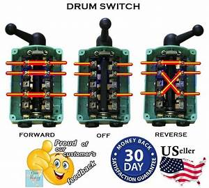 60 Amp Drum Switch Forward  Off  Reverse Motor Control Water Resistant Reversing