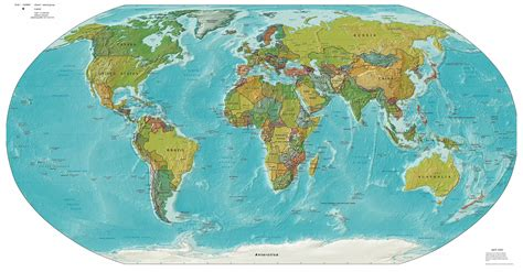 large detailed political  relief map   world