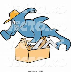 Vector of a Hard Working Cartoon Hammerhead Shark Repair